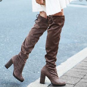 FREE PEOPLE North Star Over the Knee Boots in Gray